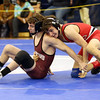 HADLEY GREEN/Staff photo<br /> Calvin Dalton of Salem wrestles Evan Kinney of Chelmsford in the 106 pound match at the All State Wrestling tournament at St. John's Prep.<br /> <br /> 02/24/18