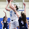 HADLEY GREEN/Staff photo<br /> Peabody's Liz Zaiter (24) scores at the Peabody v. Swampscott girls basketball game at Peabody High School.<br /> <br /> 02/15/18