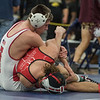 AMANDA SABGA/Staff photo<br /> <br /> Masconomet's Jack Darling pins Hingham's Kaya Boyle during the 132 wight class championship MIAA all-state wrestling meet at St. John's Prep in Danvers. <br /> <br /> <br /> 2/23/19