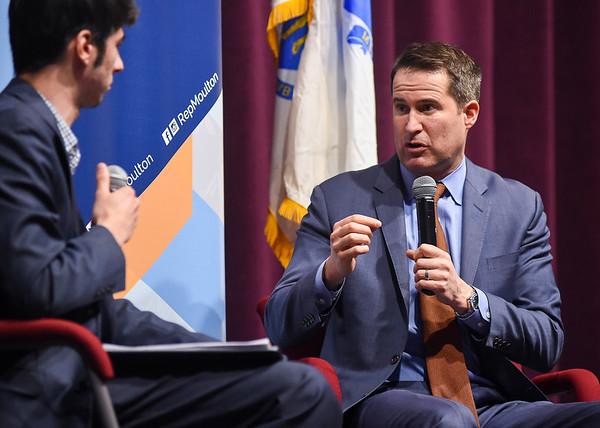 Cong. Seth Moulton speaks at Salem State