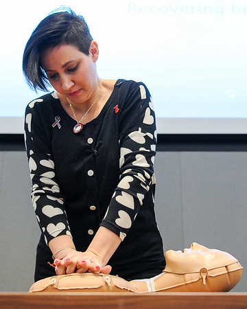 Lisa Cardillo who was saved by Abiomed's Impella heart pump teaches CPR during National Heart Month