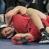 AMANDA SABGA/Staff photo<br /> <br /> Salem's Calvin Dalton is pinned down by Melrose's Hunter Adrian during the 113 weight class championship at the MIAA all-state wrestling meet at St. John's Prep in Danvers. <br /> <br /> <br /> 2/23/19