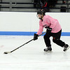 CARL RUSSO/Staff photo. Beverly/Danvers senior captain, Shelby Johnson moves the puck. <br /> <br /> The annual Colleen Ritzer memorial hockey game between Andover high and Beverly/Danvers was played on January 9, Wednesday night at the Raymond Bourque arena at Endicott College. The game benefits the Colleen Ritzer Memorial Scholarship Fund. <br /> <br /> Colleen Ritzer of Andover, a Danvers high school teacher was murdered in 2013 by her student. 1/9/2019