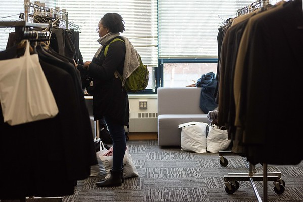 Students look for business attire during Career Closet. Salem State held it's Career Closet day at Ellison Campus Center on Thursday. RYAN MCBRIDE/Staff photo 2/20/20