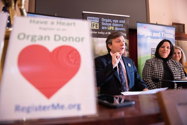 "Matt Boger, Director of state relations New England Donor Services, speaks about the ""Have a Heart and get a Heart"" campaign. By registering as a donor at the RMV when getting or renewing your driver's license, Real ID, or ID, you are able to become an organ and tissue donor. Mayor Kim Driscoll, along with organ donor recipients joined to celebrate valentine's week at City Hall Wednesday morning. RYAN MCBRIDE/Staff photo 2/12/20"