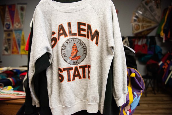 Salem memorabilia is seen inside of The Felt Fanatic on Mason Street. RYAN MCBRIDE/Staff photo 2/20/20