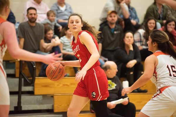 Amesbury's Allison Napoli moves the ball up the court. Ipswich hosted the Amesbury Indians Thursday evening. RYAN MCBRIDE/Staff photo 2/13/20