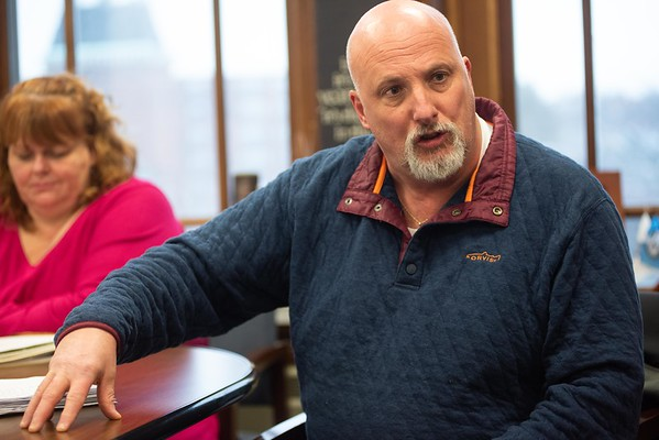 Ward 4 city councilor Ed Charest talks about the voices of residents, who sent in written letters and signed a petition opposing the 40B project at the former J.B Thomas Curahealth hospital site on 15 King Street. RYAN MCBRIDE/Staff photo 2/13/20