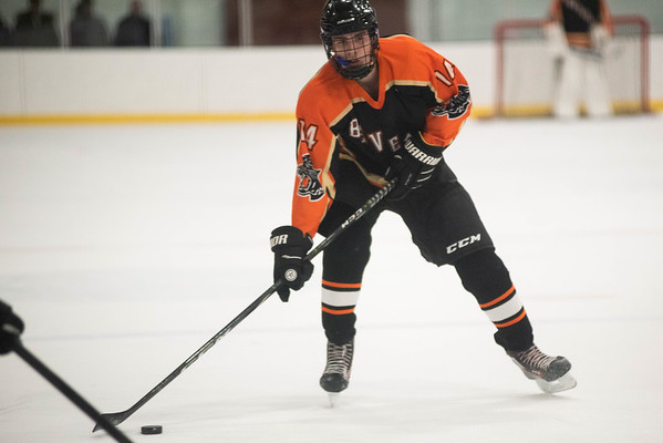 Beverly's Owen Desmond moves the puck up ice. Gloucester hosted Beverly at the Talbot Rink, routing the Panthers 7-1. RYAN MCBRIDE/Staff photo 2/15/20