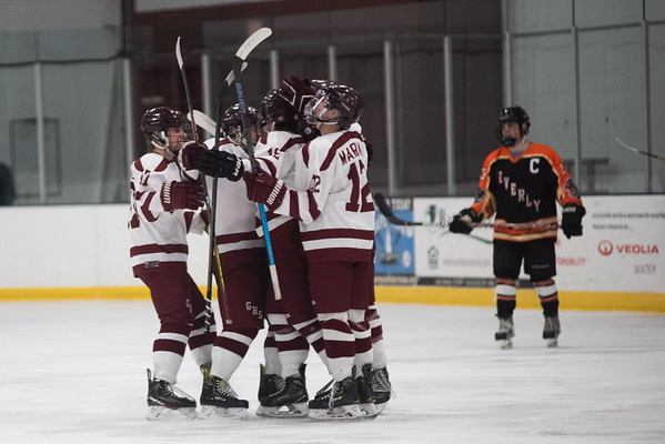 Gloucester celebrates after scoring. Gloucester hosted Beverly at the Talbot Rink, routing the Panthers 7-1. RYAN MCBRIDE/Staff photo 2/15/20