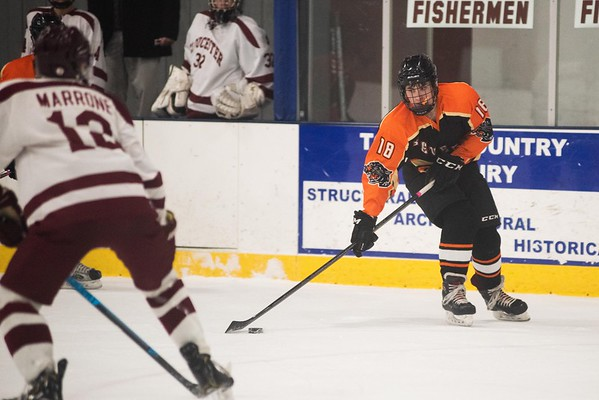 Beverly's Shane Cassidy brings the puck up ice. Gloucester hosted Beverly at the Talbot Rink, routing the Panthers 7-1. RYAN MCBRIDE/Staff photo 2/15/20