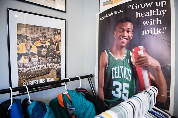 Older New England sports posters hang on the walls at The Felt Fanatic in Salem. RYAN MCBRIDE/Staff photo 2/20/20