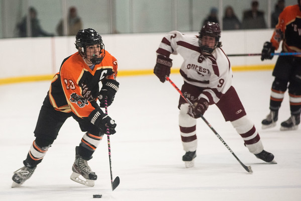 Beverly's Andrew Mezza moves the puck up ice. Gloucester hosted Beverly at the Talbot Rink, routing the Panthers 7-1. RYAN MCBRIDE/Staff photo 2/15/20