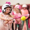 Stella Dimercuroi, 7 years old, of Gloucester, makes a big swing and connects. The GHS youth softball clinic took place at Gloucester High School Thursday morning. RYAN MCBRIDE/Staff photo 2/20/20