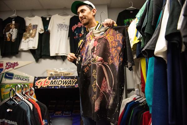 Zach Goodman shows off a rare Janis Joplin shirt worth over $1000. RYAN MCBRIDE/Staff photo 2/20/20