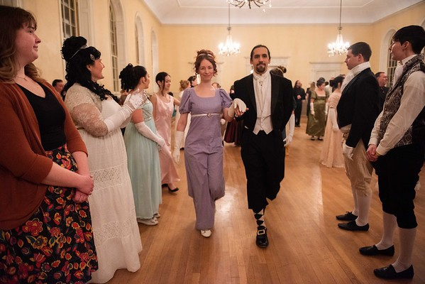 Nicole Kinsley, of Quincy, left, and Marshall Karpel, of Somerville, dance together at the Austen Ball. The Commonwealth Vintage Dancers hosted the Jane Austen Ball at the Old Town Hall in Salem Saturday evening. RYAN MCBRIDE/Staff photo 2/15/20