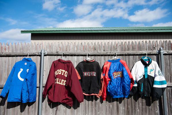 Jackets and sweatshirts hang outside of The Felt Fanatic. RYAN MCBRIDE/Staff photo 2/20/20
