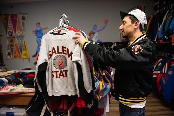 Zach Goodman rearranges some clothing inside of The Felt Fanatic in Salem. RYAN MCBRIDE/Staff photo 2/20/20