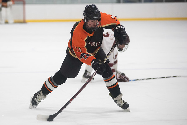 Beverly's DJ Bachini takes a shot against Gloucester. Gloucester hosted Beverly at the Talbot Rink, routing the Panthers 7-1. RYAN MCBRIDE/Staff photo 2/15/20