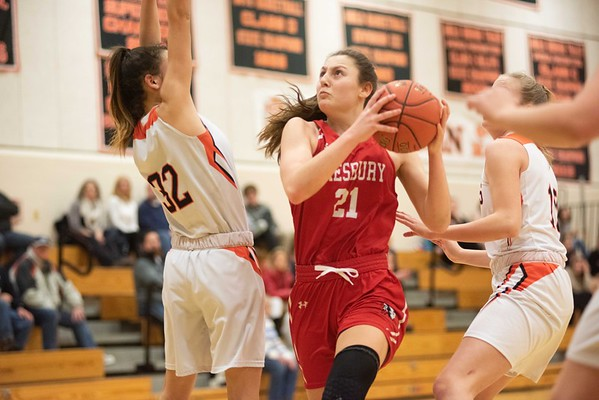 Amesbury's Allison Napoli pushes up the court into the paint. Ipswich hosted the Amesbury Indians Thursday evening. RYAN MCBRIDE/Staff photo 2/13/20