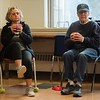 Sue Kaplan, left, and Jerry Kaplan, right, of Marblehead, use a weight ball. Strength in Motion, the Parkinson's Fitness class runs every Tuesday from 11:00 AM to Noon at the Marblehead Council on Aging. RYAN MCBRIDE/Staff photo 2/25/20