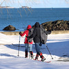 HADLEY GREEN/ Staff photo<br /> Beverly and Bob Chadwick of Salem took a stroll on snowshoes through the Salem Willows park on Friday, February 10th, 2017.