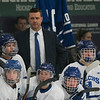 SAM GORESH/Staff photo. Danvers head coach Steve Baldassare with the team in their game at Bourque Arena. 1/6/17