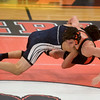 Beverly's Lucas Silva wrestles Marblehead-Swampscott's Ari Shteynberg in the 145 pound bout in their meet at Beverly High School. 1/18/17