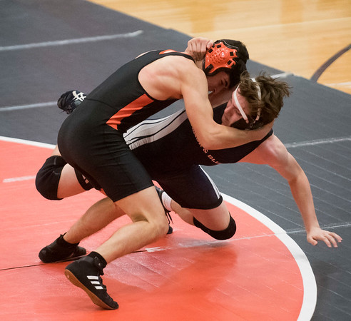 Beverly's Austin Beaulieu wrestles Marblehead-Swampscott's Cole Patrick in the 152 pound bout in their meet at Beverly High School. 1/17/17