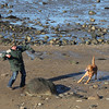 HADLEY GREEN/ Staff photo<br /> Marc Bolden of Peabody plays fetch with his dog Cooper on the beach at Salem Willows on Friday, February 10th, 2017.