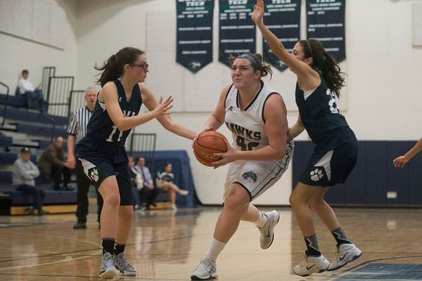 Essex Tech's Carly D'Orlando races to the basket with the ball in their game against Presentation of Mary Academy at Essex Tech. Essex Tech won the game 52-25.1/17/17