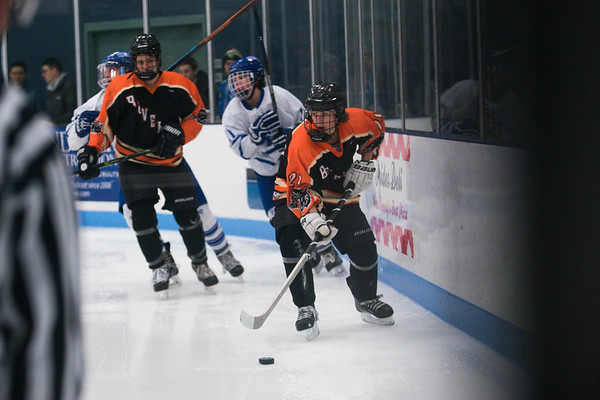 SAM GORESH/Staff photo. Beverly junior Patric Cotreau takes control of he puck in their game against Danvers at Bourque Arena. 1/6/17