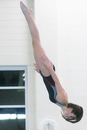 SAM GORESH/Staff photo. Marblehead freshman Carter Murray dives in their meet against Beverly at the Lynn van Otterloo YMCA. 1/10/17