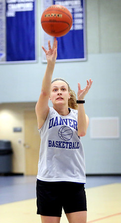 HADLEY GREEN/Staff photo<br /> Sarah Unczur shoots at the Danvers girls basketball practice at Danvers High School.<br /> <br /> 02/01/18