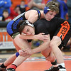 HADLEY GREEN/Staff photo<br /> Georgetown/Ipswich's Robbie Blythe and Beverly's Lucas Silva wrestle at the annual CAL/NEC Open at Beverly High School.<br /> <br /> 01/27/18