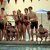 HADLEY GREEN/Staff photo<br /> Beverly and Marblehead swimmers cheer at the Marblehead v. Beverly swim meet at the Lynch van Otterloo YMCA pool in Marblehead.<br /> <br /> 1/11/17