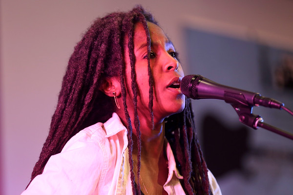 HADLEY GREEN/Staff photo<br /> Beverly-based musician Aisha Burns performs at the North Shore Shelter Fest at First Baptist Church in Beverly. <br /> <br /> 01/27/18