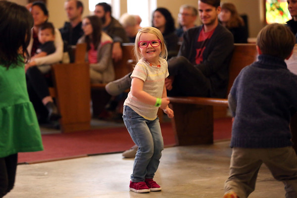 HADLEY GREEN/Staff photo<br /> Cordelia Boucher, 3, of Beverly, dances at the North Shore Shelter Fest at First Baptist Church in Beverly. <br /> <br /> 01/27/18