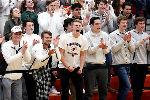 HADLEY GREEN/Staff photo<br /> Beverly fans cheer at the Beverly v. Lynn Classical boys basketball game at Beverly High School.<br /> <br /> 1/09/17