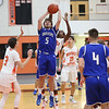 HADLEY GREEN/Staff photo<br /> Danvers' Edward Vaillancourt (5) shoots at the Beverly v. Danvers boys basketball game at Beverly High School.<br /> <br /> 01/05/17