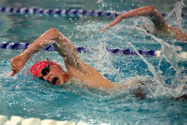 HADLEY GREEN/Staff photo<br /> Marblehead's Theo Chemel competes at the Marblehead v. Beverly swim meet at the Lynch van Otterloo YMCA pool in Marblehead.<br /> <br /> 1/11/17