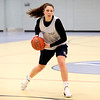 HADLEY GREEN/Staff photo<br /> Cheyenne Nessinger passes the ball at the Danvers girls basketball practice at Danvers High School.<br /> <br /> 02/01/18