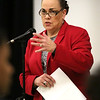 HADLEY GREEN/Staff photo<br /> Salem School Superintendent Margarita Ruiz speaks to students, families and community members at a meeting regarding the future of the Nathaniel Bowditch School in Salem. Ruiz announced that the school will be closed after this year. <br /> <br /> 01/24/18