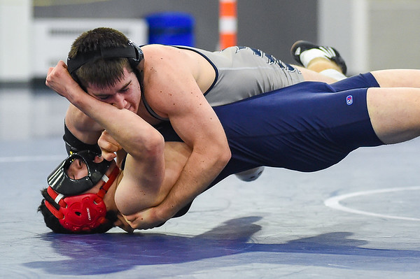 JAIME CAMPOS/Staff photo<br /> <br /> Marty Roach of St. John's Prep maintains control of Maimonides' Joseph Berlove in the 160lbs weight class during a wrestling meet at St. John's Prep in Danvers<br /> <br /> 1/21/2019