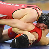 JAIME CAMPOS/Staff photo<br /> <br /> Masconomet's Jay Mirabito keeps Ray Lang of Josiah Quincy in the 170lbs weight class during a wrestling meet at St. John's Prep in Danvers<br /> <br /> 1/21/2019