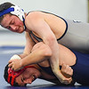 JAIME CAMPOS/Staff photo<br /> <br /> Drew Leahy of St. John's Prep maintains control of Maimonides' Ben Itkis in the 182lbs weight class during a wrestling meet at St. John's Prep in Danvers<br /> <br /> 1/21/2019
