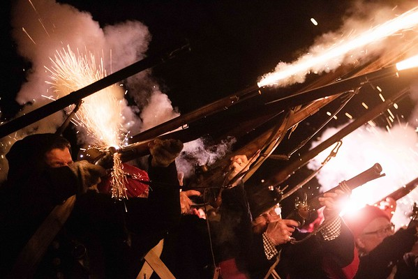 Glover's Marblehead Regiment fires off their weapons in salute of the fallen. Glover's Marblehead Regiment joined at the Old Town House and marched to Burial Hill in honor of the contributions and sacrifices of Marblehead residents during the Revolutionary War. RYAN MCBRIDE/Staff photo 2/1/20