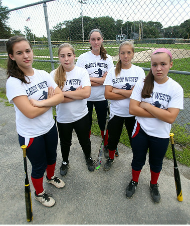 Strong hitting for the Peabody West Softball All-Stars will be provided by the top five batters from left, Luciana Mastromatteo, Amanda Crawford, Mikayla Porcaro, Mallory LeBlanc, and Caroline Kukas. The Peabody West Softball All-Star team will look to make some noise in the upcoming Regional action in Orange, CT. DAVID LE/Staff photo. 7/28/14.