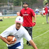 HADLEY GREEN/Staff photo<br /> New England Patriots wide receiver and two-time Super Bowl champion Julian Edelman runs drills with players at the Julian Edelman Football Clinic at Danvers High School. 7/15/17