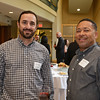 RYAN HUTTON/ Staff photo<br /> From left, Chris Chirco, of North Shore Elder Services, and Lester McNab, of Northeast Arc, at the North Shore Chamber of Commerce's After Hours event at the Wylie Inn and Conference Center on Thursday.